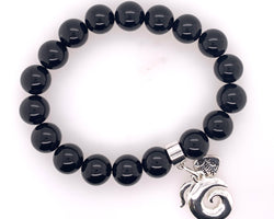Onyx Stretchy Bracelet 10Mm Beads.Koru