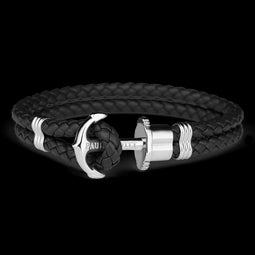 Phrep, Leather, Silver Anchor, Black Bracelet