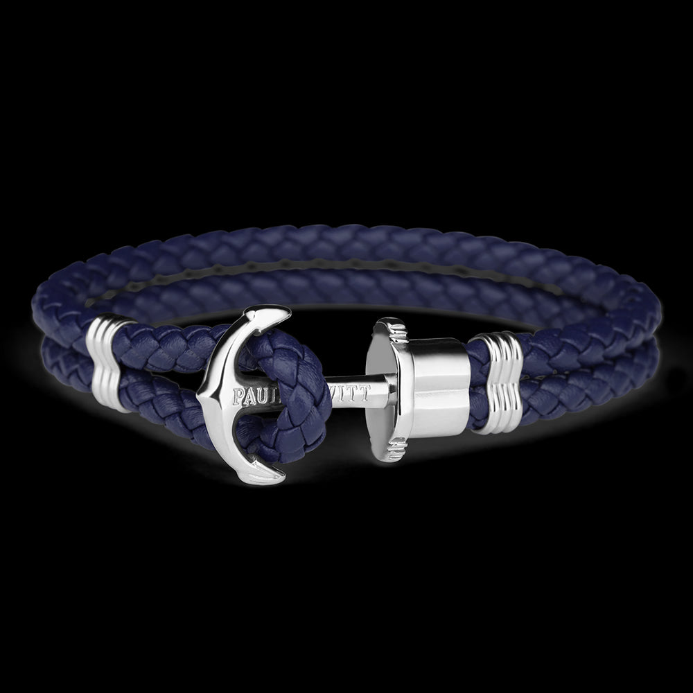 Leather, Silver Anchor, Navy Bracelet