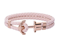 Leather, Rose Gold Anchor, Pink Rose Bracelet
