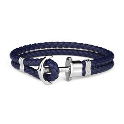 Ph Phrep, Leather, Silver Anchor, Navy Bracelet, Xxxl Size