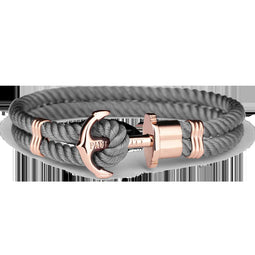 Ph Phrep, Nylon, Rose Gold Anchor, Grey Bracelet, Xxl Size