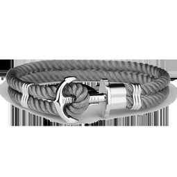 Ph Phrep, Nylon, Silver Anchor, Grey Bracelet, Xl Size