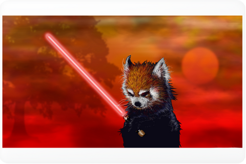 Red Panda, Black Shadow Laptop Skin