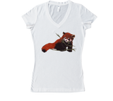 Red Panda Love Women's V-Neck