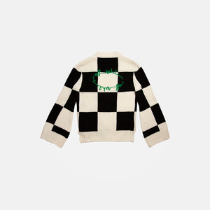 EMBROIDERED LOGO CHECK CARDIGAN