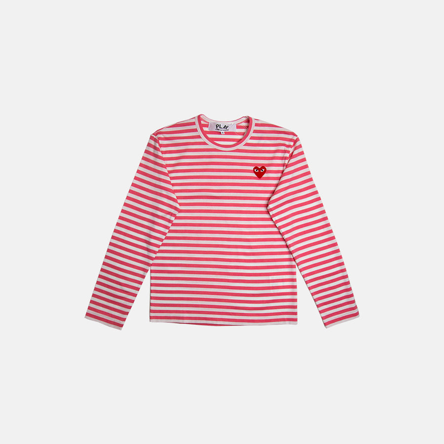 STRIPE HEART PATCH LONG SLEEVE TEE