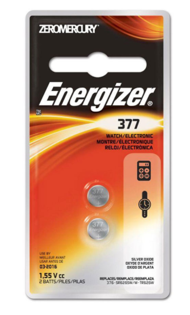 377 ENERGIZER WATCH BATTERY BUTTON CELL - 6 Pack