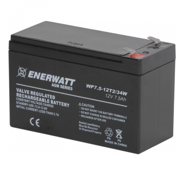Enerwatt WP7.5-12T2 BATTERY AGM 12V 7.5A SEALED T2 TERM/34 WATT 10-121-10191