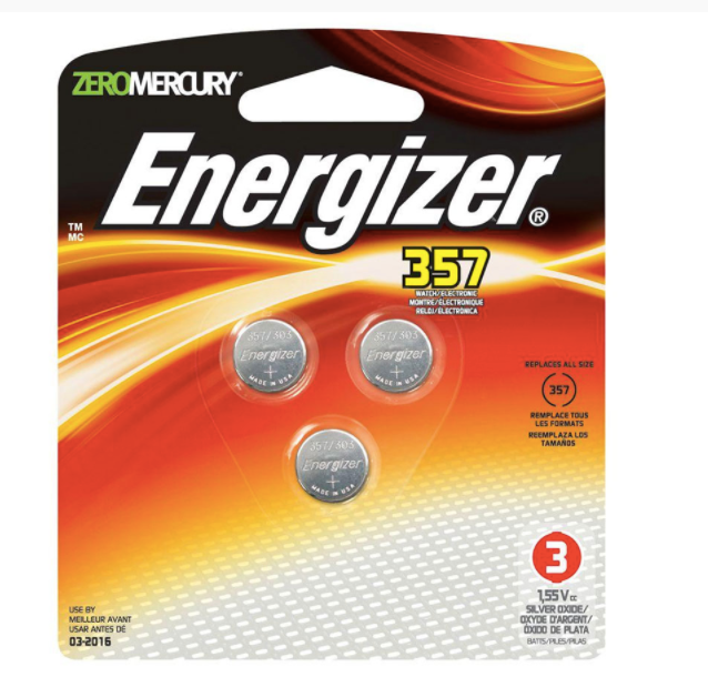 Energizer 1.5V 357 Silver Oxide Watch Batteries -6 Pack  - Zero Mercury 357BPZ