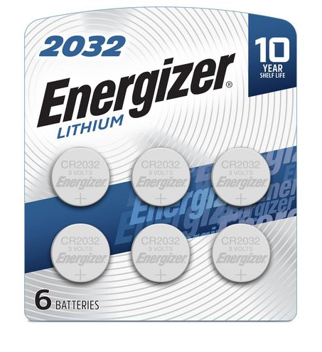 CR2032 ENERGIZER 3V LITHIUM COIN CELL - 6 Pack