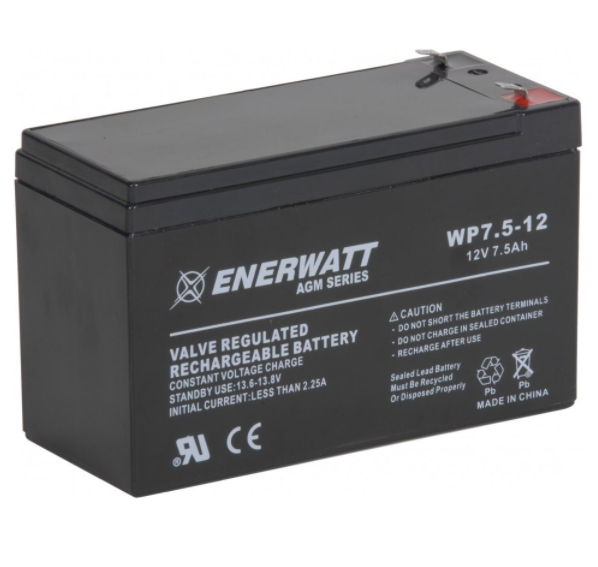 Enerwatt WP7.5-12T1 BATTERY AGM 12V 7.5A SEALED 10-121-10190