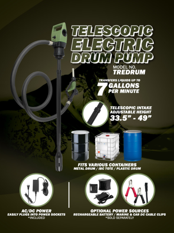 TELESCOPIC ELECTRIC DRUM PUMP