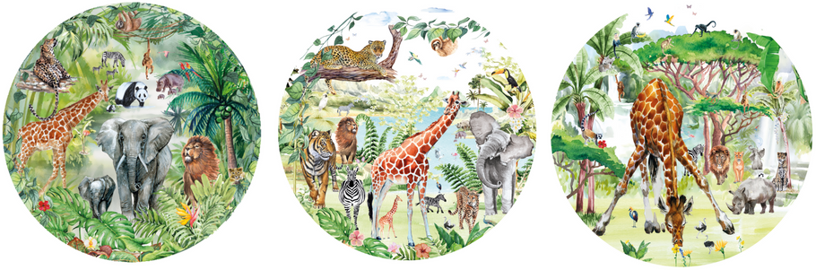 Safari en Jungle muurstickers of muurcirkels