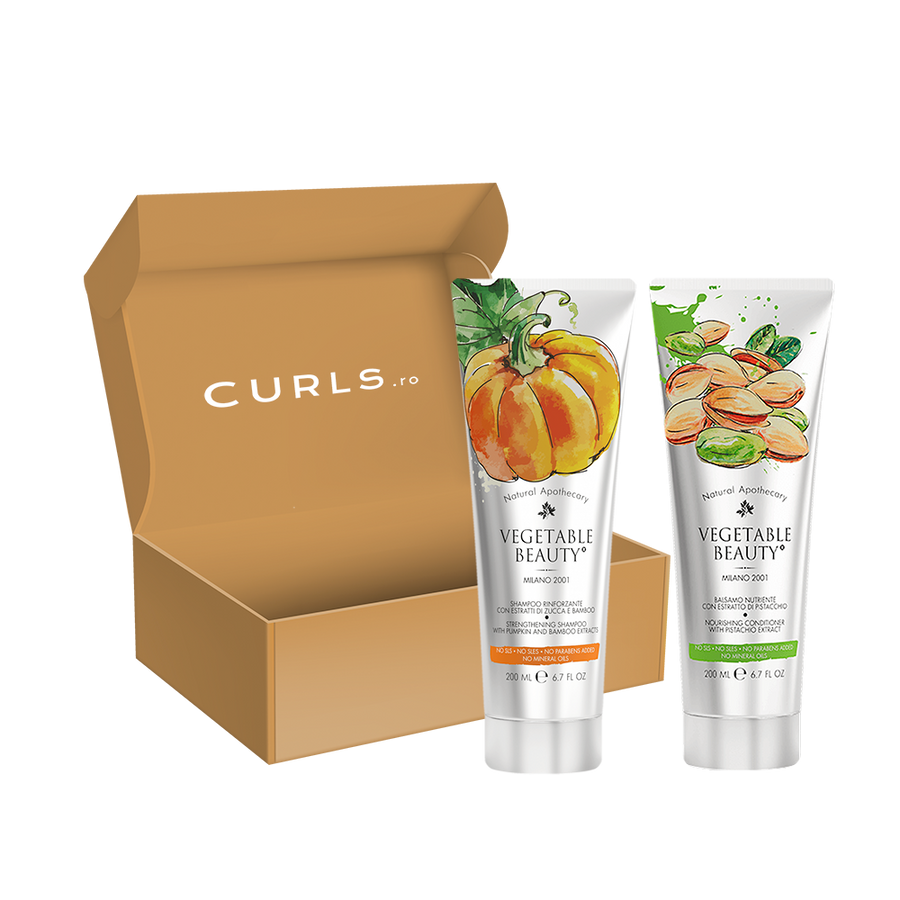 Set Vegetable Beauty Șampon cu extract de dovleac și bambus + Balsam cu extract de fistic