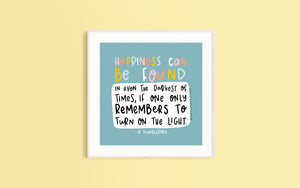 Dumbledore 'Happiness' Quote Square Print