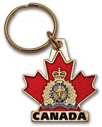 RCMP Crest on Maple Leaf Key Ring Canada