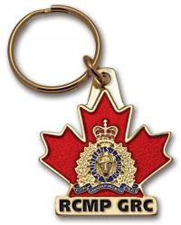 RCMP Crest on Maple Leaf Key Ring RCMP-GRC
