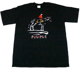 RCMP Horse and Rider Black Tee Shirt