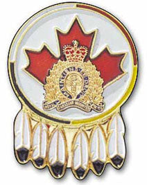 RCMP Crest on Leaf with Feathers Pin
