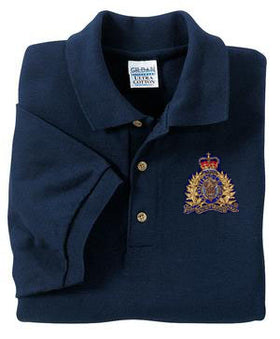Pique Navy Golf Shirt with Crest