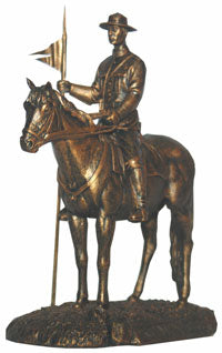 Bronze Finsh Mountie Officer on Horseback