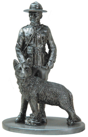 Pewter RCMP Mountie Officer and his Dog