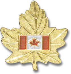 Canada Flag on Gold Leaf Pin