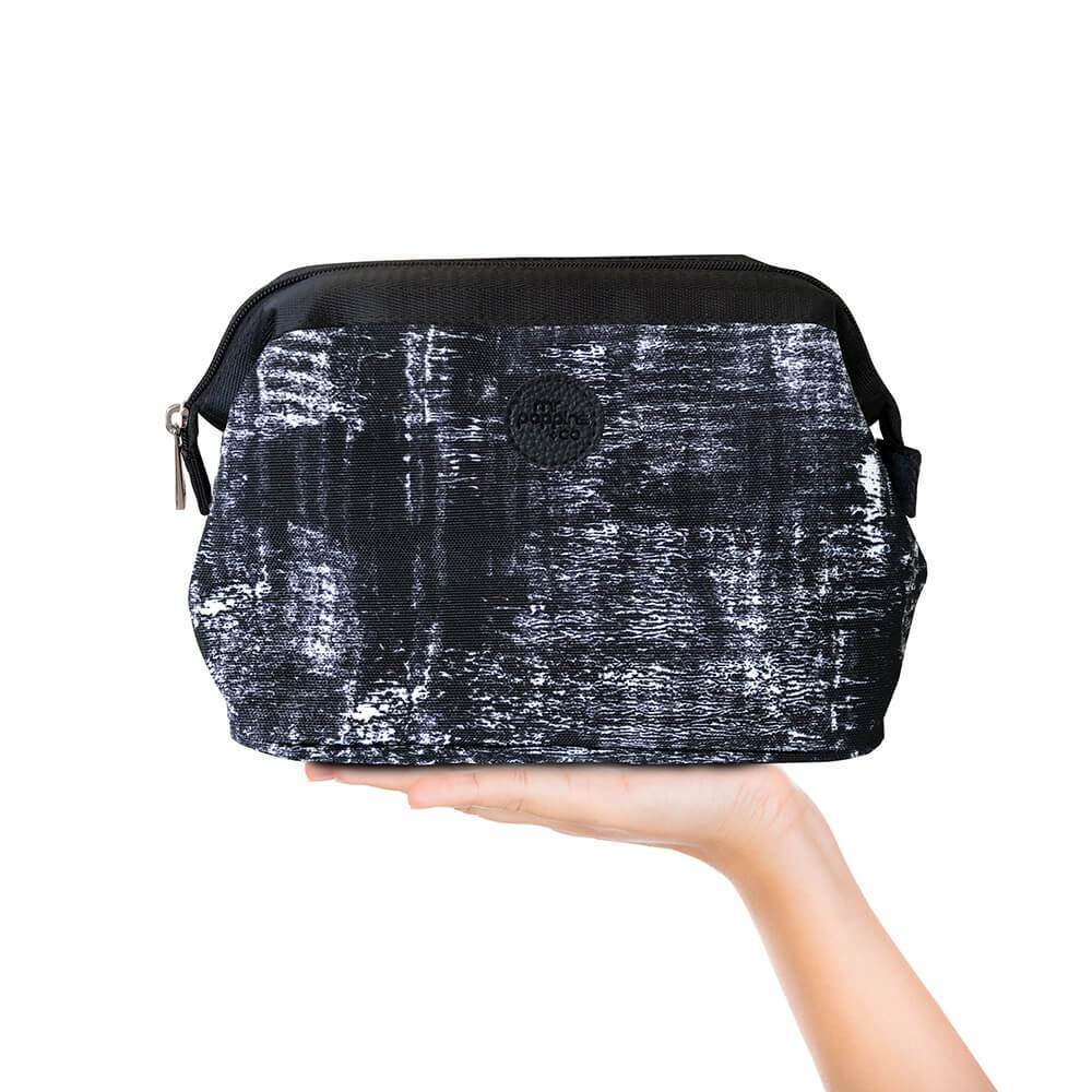 Cosmetic bag in black and white texture pattern
