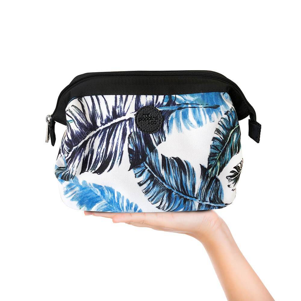 Cosmetic bag in feather palm pattern
