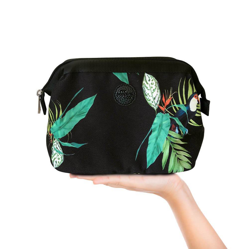 Cosmetic bag in toucan tropical pattern