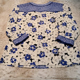 Talbots Floral Tunic Blouse 3/4 Sleeve Size Small