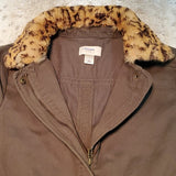 LOFT Hunter Green Utility Jacket w Faux Fur Trim Size XS