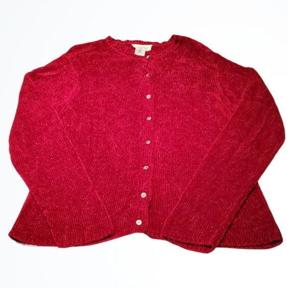 Vintage Talbots Red & Metallic Thread Cardigan Size L