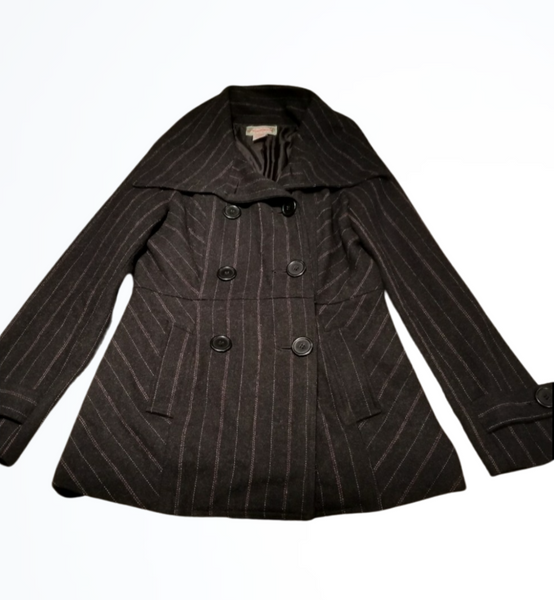 Flying Tomato Black Pinstripe Wool Blend Pea Coat Size M