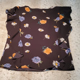 NWT Sioni Black Floral Sleeveless w Side Ruffle Blouse