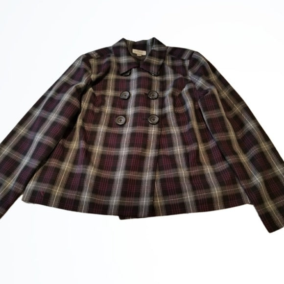 Studio Works Double Breasted Plaid Blazer Size 14