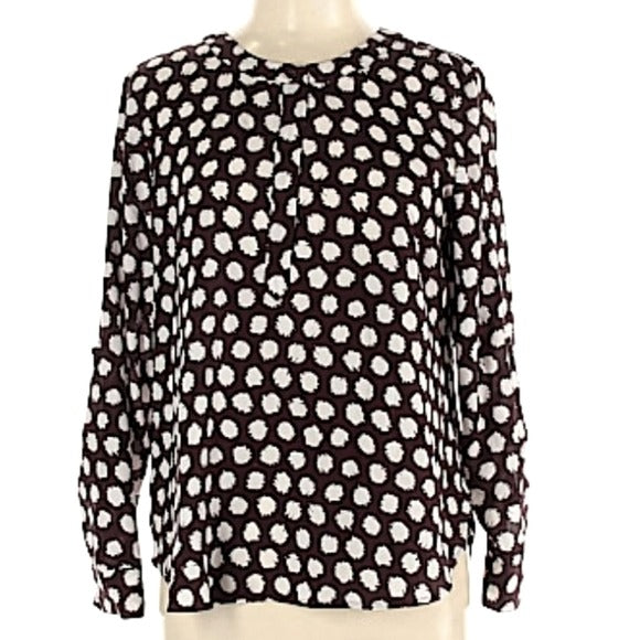Ann Taylor Geometric Half Button Sleeved Blouse Size M