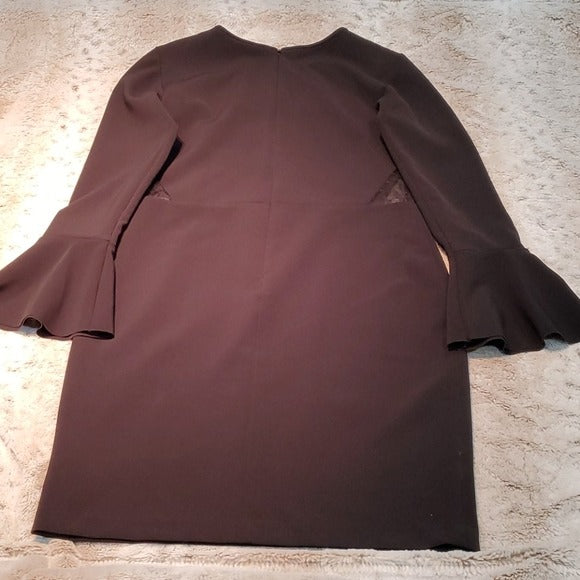 Parker Swissdot Insert Bell Sleeve Sheath Dress Size M