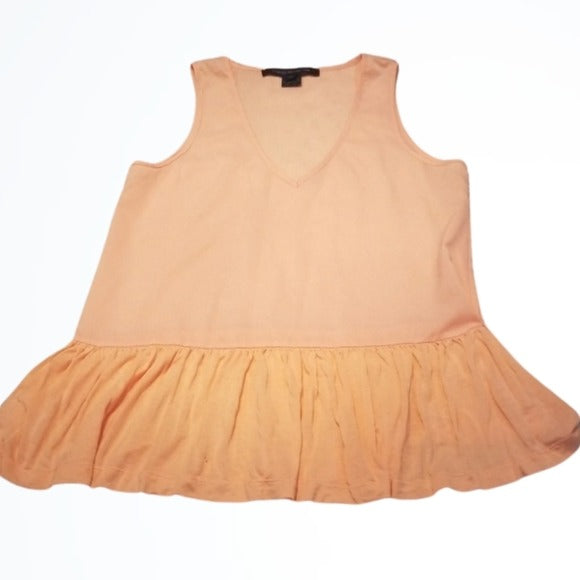 French Connection Flowey Peach Ruffled Tank Top Size XS