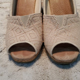 Toms Beige Canvas Open Toe Cork Wedge Sandals Size 7.5