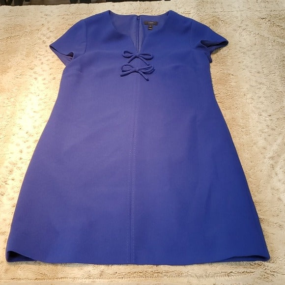 J.Crew Tall Fit Blue Sheath Dress With Ties Size 10T