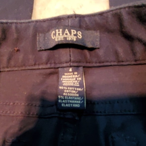 Chaps Navy Mid Rise Straight Cropped Pants Size 4