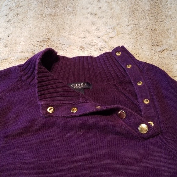 Chaps Medium Weight Purple Cotton Sweater Size L