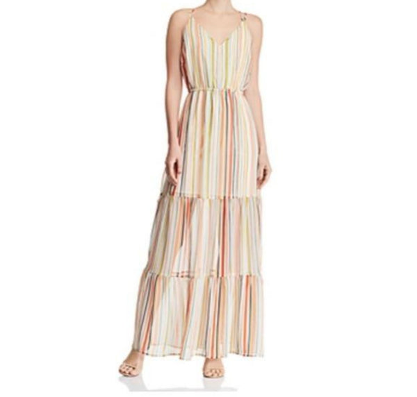NWT Jack BB Dakota Tiered Stripe Maxi Dress Grapefruit