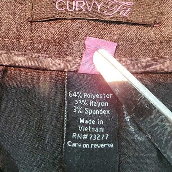 NWT Apt. 9 Curvy Trouser Mid Rise Charcoal Gray Size 16