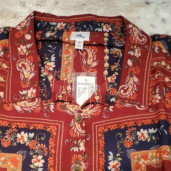 NWT Dressbarn Red Paisley Print Convertible Blouse
