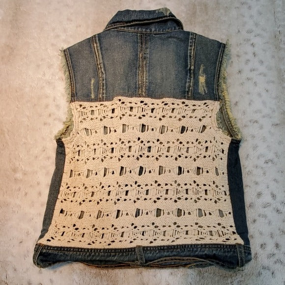 Free People Distressed Jean Crochet Vest Size S