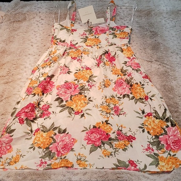 NWT Cynthia Rowley Linen Fit and Flare Floral Dress