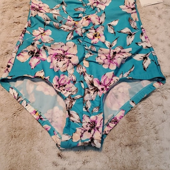 NWT Cara Loona Watercolor Floral Print One Piece Swim